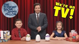 JIMMY FALLON SMASHES MY HATCHIMALS!!! Evan & Jillian on The Tonight Show!