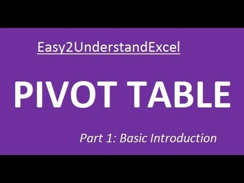 Excel 2007 Tutorial PIVOT TABLE (Part 1: Basic Introduction)