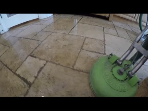 Travertine stone & grout cleaning
