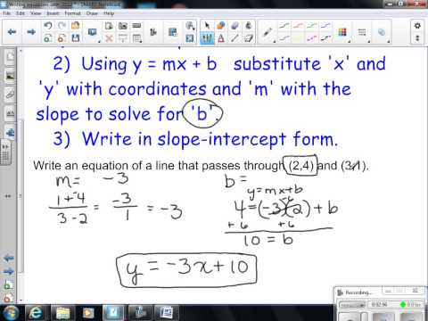 Writing linear equations given 2 pts 2012 Algebra