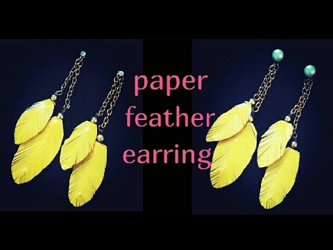 how to make paper feather earrings at home/ easy