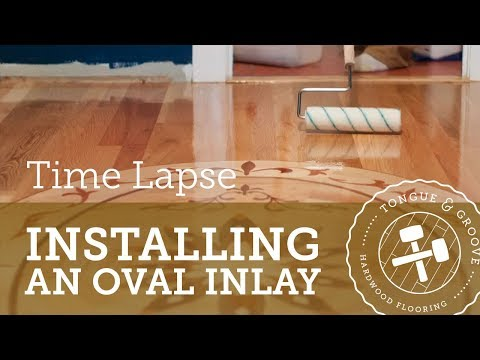 Installing a hardwood floor with large oval inlay