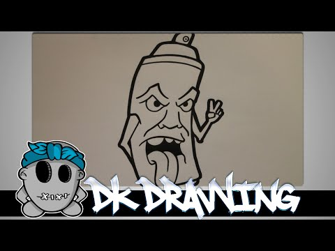 How to draw a simple graffiti spraycan
