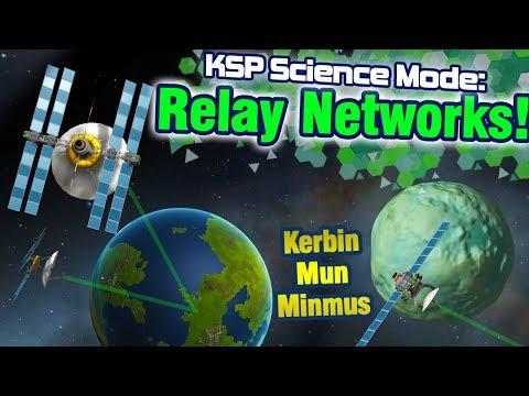 KSP: Establishing Geostationary Kerbin Relays AND Mun + Minmus relays in 1 launch!