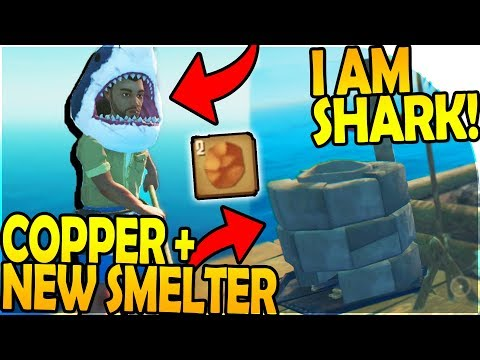 I'M A SHARK! - NEW SMELTER + COPPER ( Raft Survival Gameplay Part 7 )