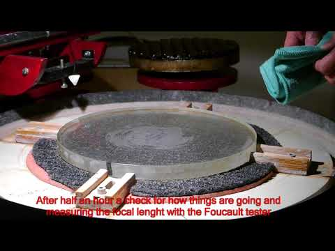 Making a 33 cm f/4.8 mirror on the Mirror-o-Matic 6: polishing the surface with a pitch lap