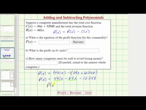 Polynomial Function Application: Profit Function From Revenue and Cost Functions