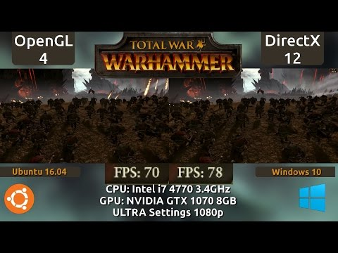 Ubuntu 16.04 VS Windows 10 : Total War Warhammer Benchmark on a GTX 1070 (OpenGL vs DX12)