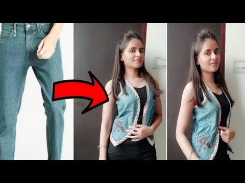 DIY: Convert/ Reuse/Recycle Old Jeans into Girl's Jacket/Reuse Old Jeans/Girl Jacket/Denim reuse