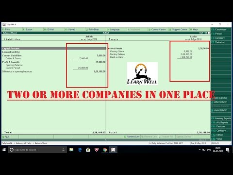 Tally ERP 9 - How to See Two or More Companies Balances in One Place☑️
