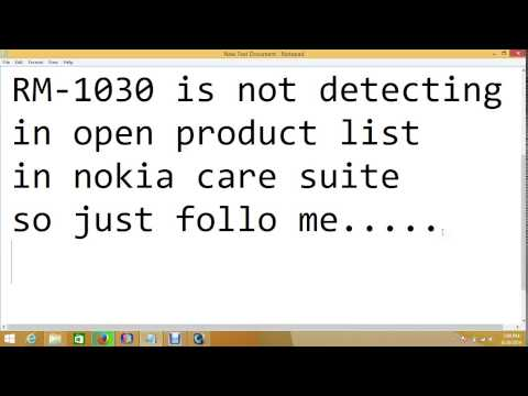 RM-1030 IS NOT DECTECTING IN NOKIA CARE SUITE EVEN AFTER DOWNLOADING