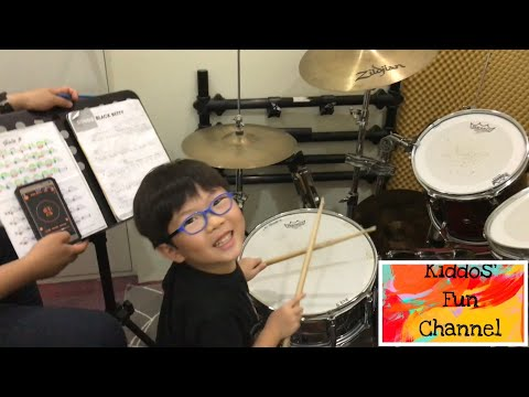 Black Betty drum cover by 5 year old boy / slow version / first time playing a song