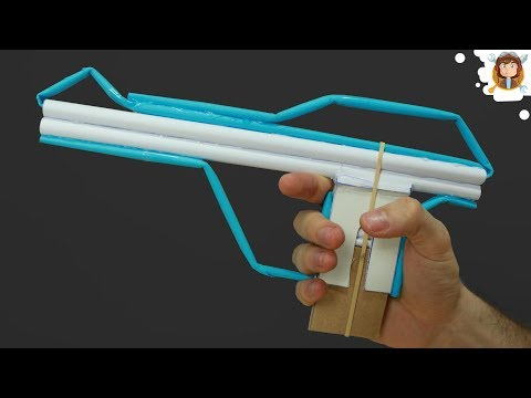 How To Make A Blowgun Pistol With Magazine - (10 Bullets)