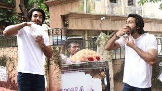 Javed Jaffery's Son Meezan Jaffery Enjoying Pani Puri & Bhelpuri @ Juhu Mumbai Today