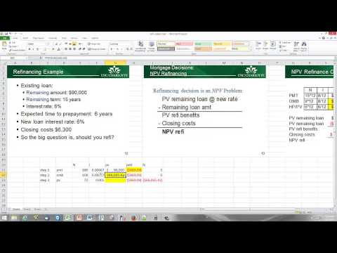 Refinancing part I - The NPV calculation
