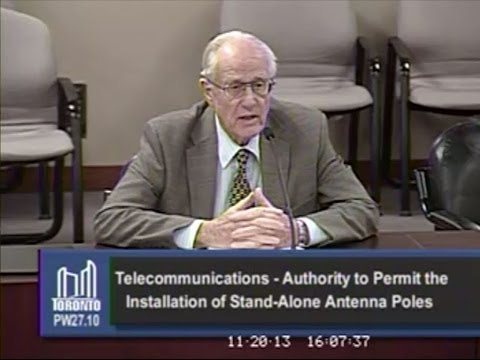 Dr Anthony Miller to Toronto Council re: RF Exposure