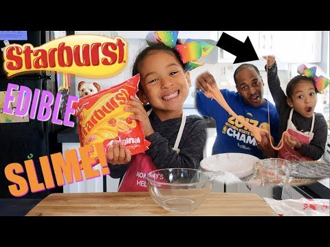 DIY STARBURST SLIME *YOU CAN EAT IT* COOKING WITH MIMI!