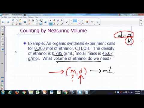 Molar Mass 4 - Volume, Mass, and Moles of Pure Liquids - 8m:09s
