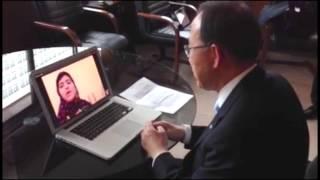 Ban Ki-moon, Skype conversation with Malala Yousufzai - Madrid (Spain)