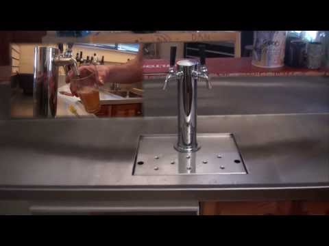 How To Build A Bar, BEST MAN CAVE BAR EVER! Full kegerator beer system through bench!