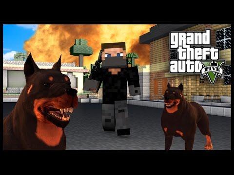 Minecraft - GTA V Mod - Grand Theft Auto 5 - GUARD DOGS!