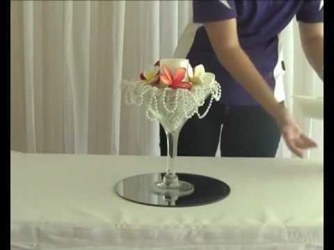 How to Create a Frangipani and Pearl Martini Wedding or Party Table Centrepiece Decoration