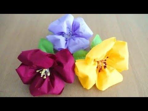 How to Make Napkin Flower Very Easily ~ Tissue Paper Flower  ~ DIY ~ Instructions/Tutorial ....