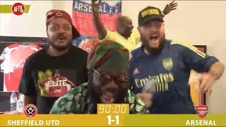 Amazing footage of AFTV reaction to Dani Ceballos late winner against Sheffield United #SHUARS 