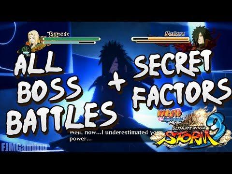 Naruto Ultimate Ninja Storm 3 | All Big Boss Battles And Secret Factors Compilation [HD]