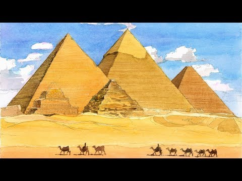 Monuments in Watercolor Ep # 02 Pyramid Complex At Giza