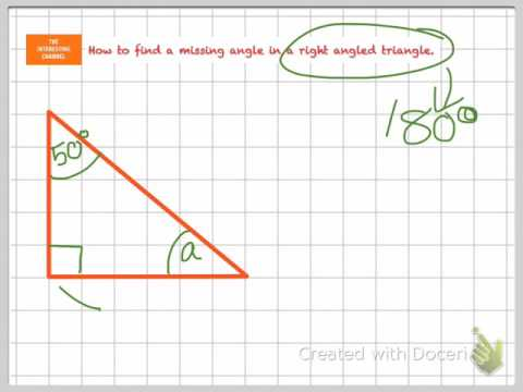 How to find a missing angle in a right angled triangle