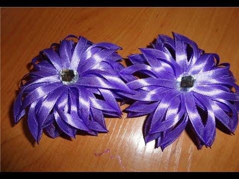 Цветы из атласных тонких лент своими руками