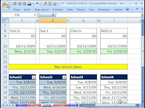 Excel Magic Trick 372: WORKDAY function - Find Date in Future