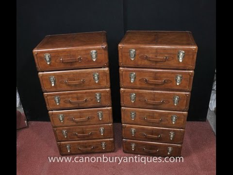 Pair Leather English Campaign Chest Drawers
