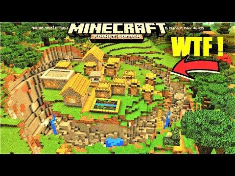 Minecraft PE - RAVINE FULLY AROUND VILLAGE ! VILLAGE ISLAND w/ BLACKSMITH MAP | MCPE 1.2