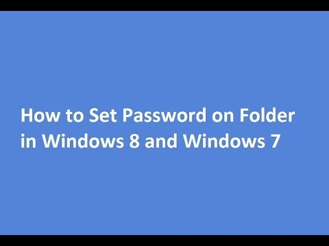 How to Set Password on Folder in Windows 8 and Windows 7