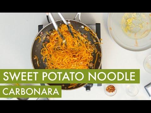Spiralized Sweet Potato Carbonara  I Gluten Free Spiralizer Recipe