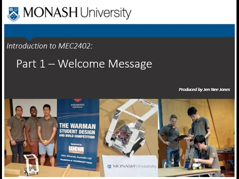 Introduction to MEC2402 Sem 1 2016 Part1 Welcome Message (Sunway)