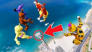 FREDDY & FRIENDS FALL DOWN 9999 FEET! (GTA 5 Mods For Kids FNAF Funny Moments) RedHatter