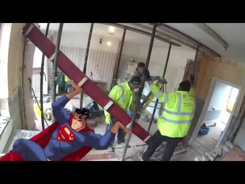 how to remove internal load bearing wall with steel beam RSJ installation | London