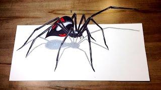 Download WILL IT BITE?! - Black Widow Challenge 3D Spider Drawing Trick Art Video