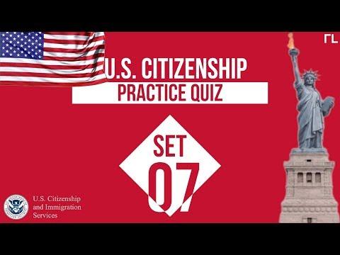 US Citizenship Practice Quiz (Set 7)