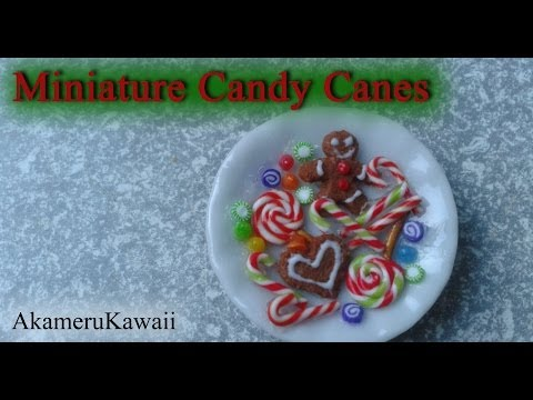 Miniature Candy cane, Christmas sweets and gumdrops - 1:12 scale polymer clay doll food