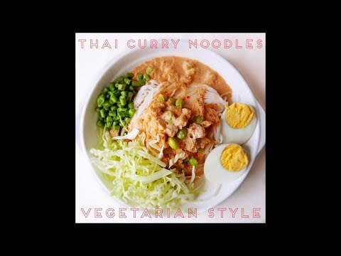 Thai Vegetarian Recipe Curry Noodles  Finger Root Base ขนมจีนน้ำยามังสวิรัติ