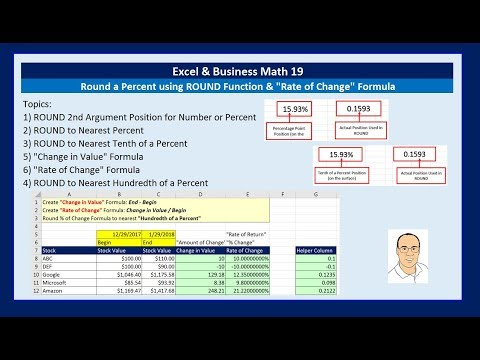 Excel & Business Math 19: Round a Percent using ROUND Function & Rate of Change Formula