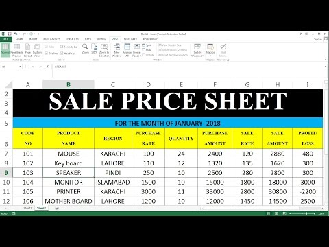 How To Make Sale Price Sheet IN MS Excel Tutorial In Hindi # 51
