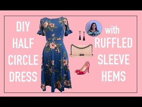 DIY HALF CIRCLE DRESS WITH RUFFLED SLEEVES   STATEMENT SLEEVES   DIY CUTE SUMMER DRESS