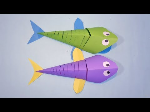 How to Make a 3D Paper Fish for Kids - DIY Origami Fish Craft Easy