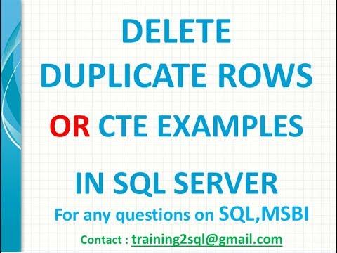 SQL CTE Examples | SQL Delete Duplicate Rows | Identify duplicate rows in sql server