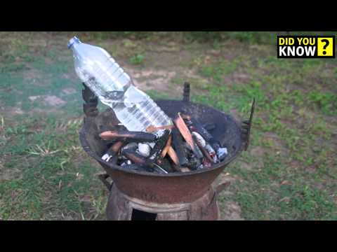 How to boil water on a fire in a plastic bottle.